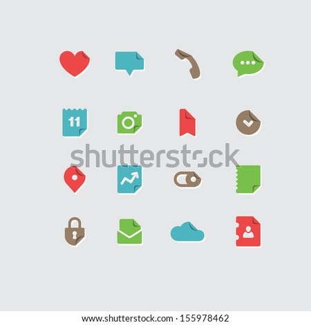 Vector set of vintage color flat icons for mobile phone