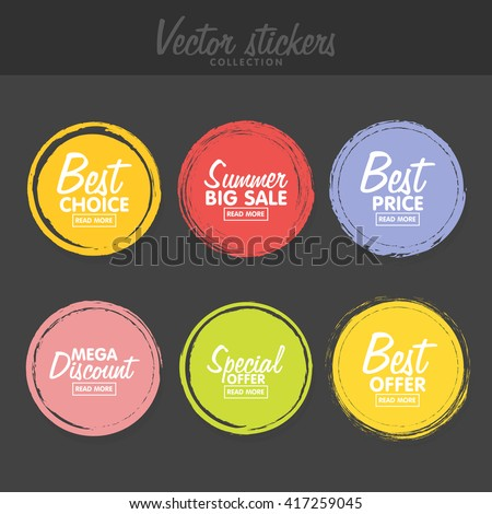 Vector set vintage colorful labels greetings stock vector 2018 vector set of vintage colorful labels for greetings and promotion premium quality guarantee bestseller m4hsunfo