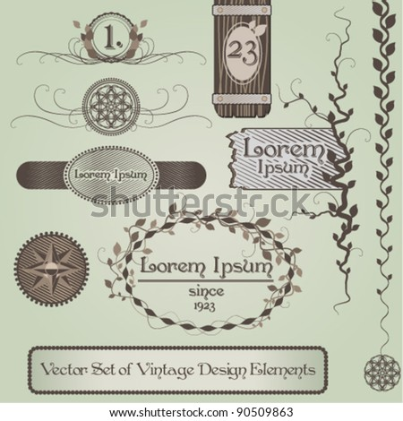 Vector Set of Vintage Design Elements, floral and abstract elements of different uses