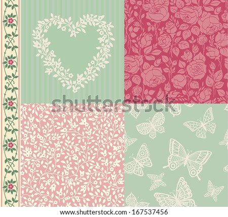 Vector set of vintage elements for design. Two seamless floral pattern and one seamless pattern with butterflies. Frame of spring flowers and seamless border. Mint and pink. Pastel colors. - stock vector