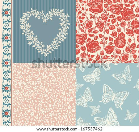 Vector set of vintage elements for design. Two seamless floral pattern and one seamless pattern with butterflies. Frame of spring flowers and seamless border. Blue and red.  - stock vector