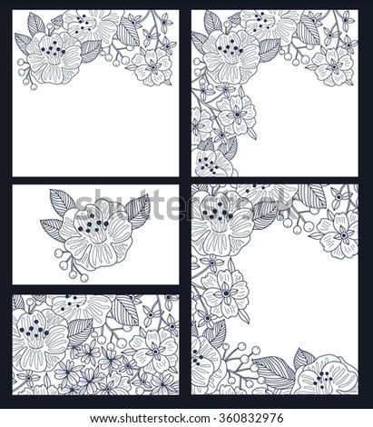vector set of vintage floral cards with linear hand drawn blooms.