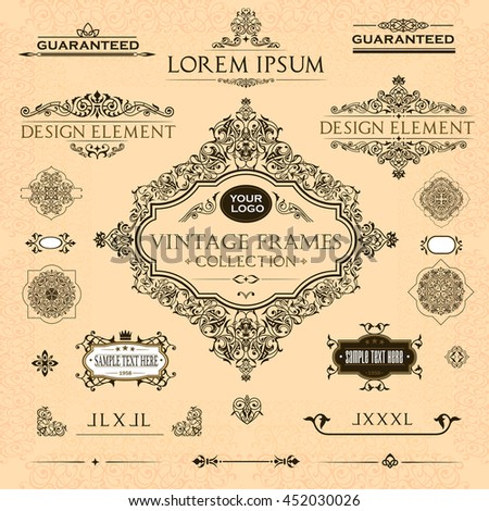 Vector set of vintage frames and design elements: page decoration, Premium Quality  antique and baroque  Borders, text delimiters, cadres with place for text.  - stock vector