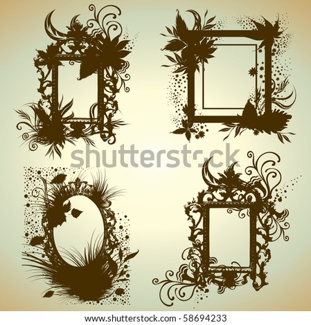 Vector set of vintage frames with Autumn Leafs. Thanksgiving - stock vector