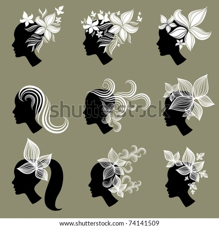 """Vector set of vintage girls hair from leafs (from my big """"Floral collection"""") - stock vector"""