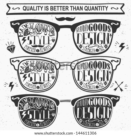 Vector set of vintage glasses. - stock vector