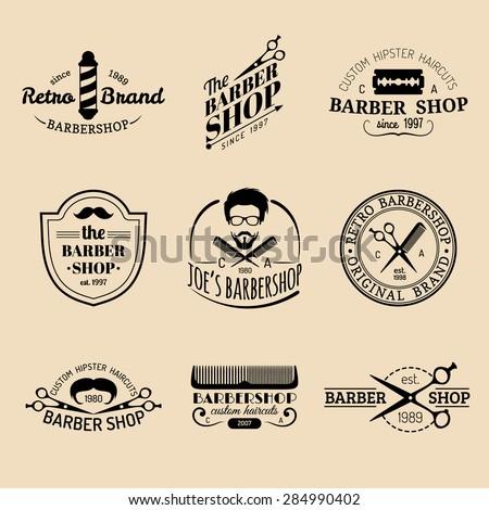 Vector set of vintage hipster barbershop logos. Barbers logotype collection. Hipster barbershop logo bundle - stock vector