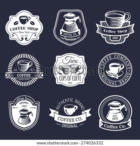 Vector set of vintage hipster coffee logo. Modern coffee shop logotypes collection - stock vector