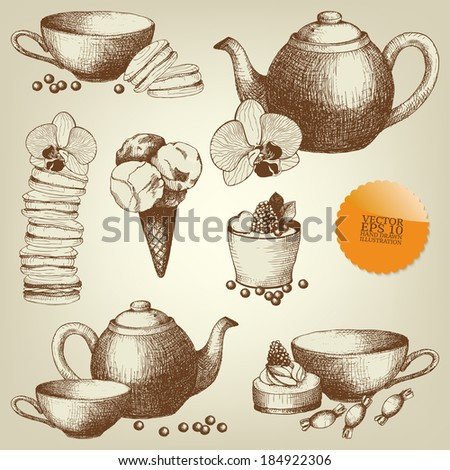 Vector set of vintage ink hand drawn dessert and pastry illustrations  - stock vector