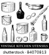 Vector set of vintage kitchen utensils - stock vector