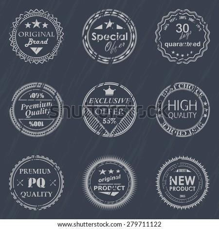 Vector set of vintage labels. Grunge effect      - stock vector