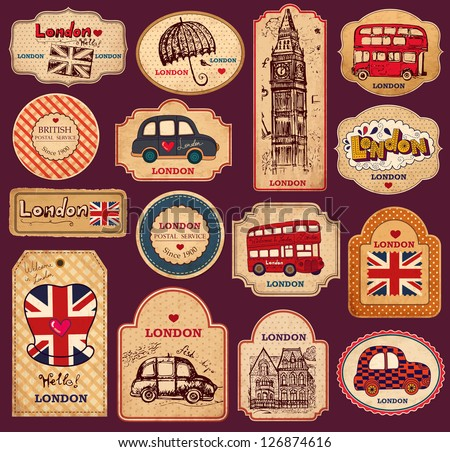 Vector set of vintage labels with London symbols - stock vector