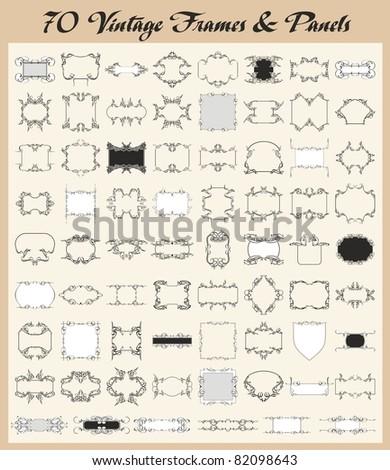 Vector set of 70 vintage ornamental frames and panels. - stock vector