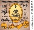 vector set of vintage retro coffee labels - stock vector