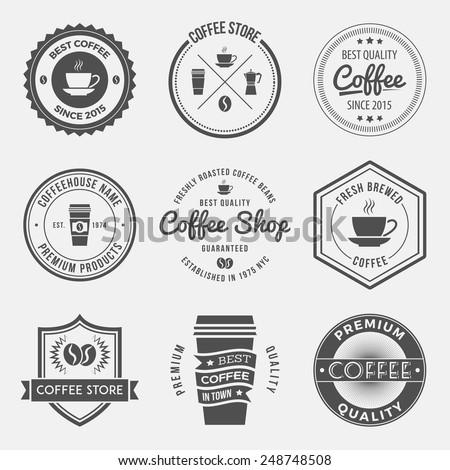 vector set vintage retro coffee shop stock vector