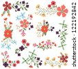 Vector Set of Vintage Style Flower Clusters - stock vector