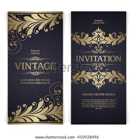 Vector set of vintage template ornamental gold design elements, frame and patterned background. Elegant lace wedding invitation design, Greeting Card, banner in classic style - stock vector