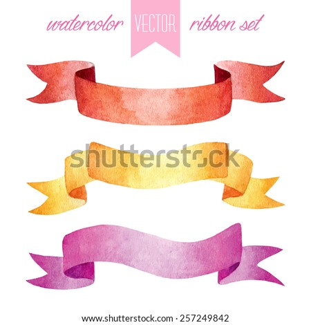 Vector set of vintage watercolor isolated red, yellow and pink ribbons - stock vector