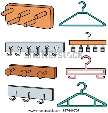 Vector Set Wall Coat Rack Hanger StockVektorgrafik Lizenzfrei Fascinating Coat Rack Clipart