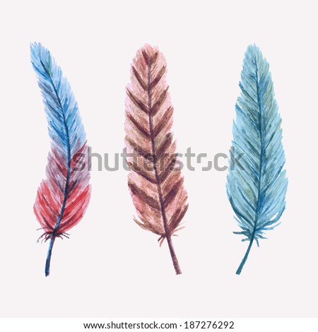 Vector set of watercolor feathers - stock vector