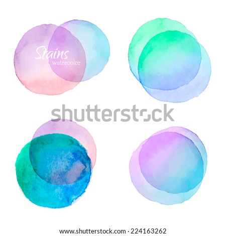 Vector set of watercolor stains - stock vector
