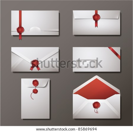 Vector set of wax sealed envelopes. - stock vector