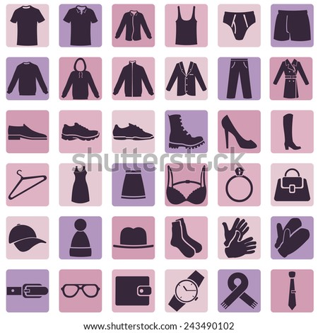 Vector Set of Wear Icons - stock vector