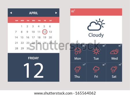 Vector set of Weather and Calendar Widget UI for mobile app and web - stock vector