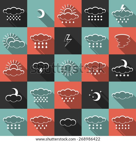 Vector set of weather icons isolated on colorful background. Symbol design. Sun, moon, wind, cloud, rain, storm, snow, thunderstorm, star, lightning. Climate symbols. Meteorology illustration. - stock vector