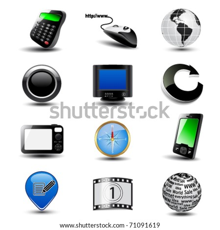 Vector set of web icons - stock vector