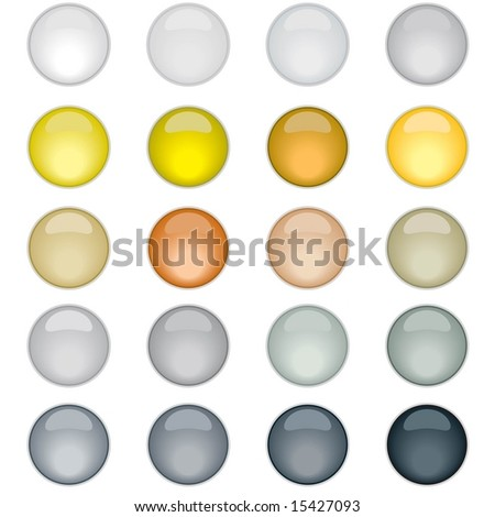 Vector set of 20 Web 2.0 style shiny glass icons in metallic colors - stock vector