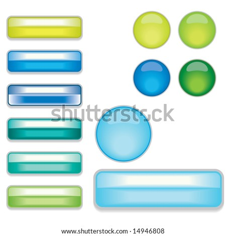 Vector set of Web 2.0 style shiny glass labels / bars and waterdrop style buttons - stock vector