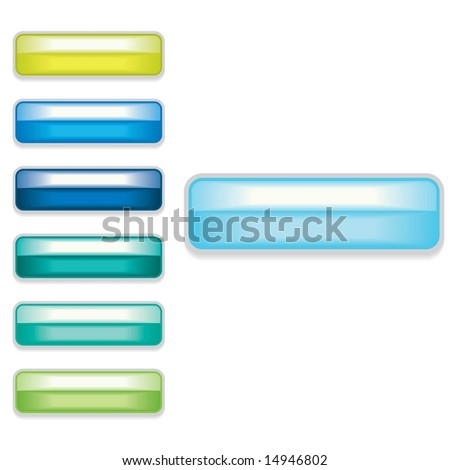 Vector set of Web 2.0 style shiny glass labels / buttons - stock vector