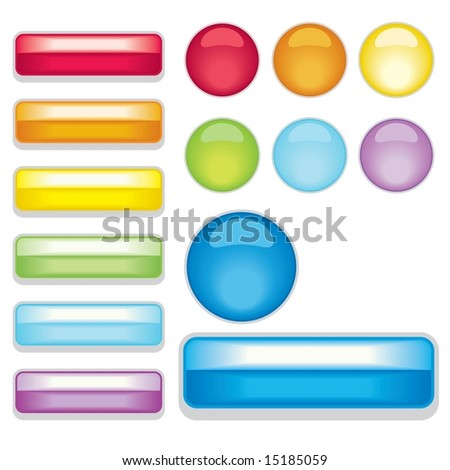Vector set of Web 2.0 style shiny metallic bars and glass buttons
