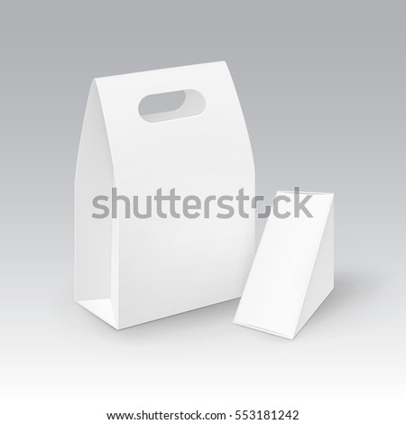 Vector Set of White Blank Cardboard Rectangle Triangle Take Away Handle Lunch Boxes Packaging For Sandwich, Food, Gift, Other Products Mock up Close up Isolated on White Background