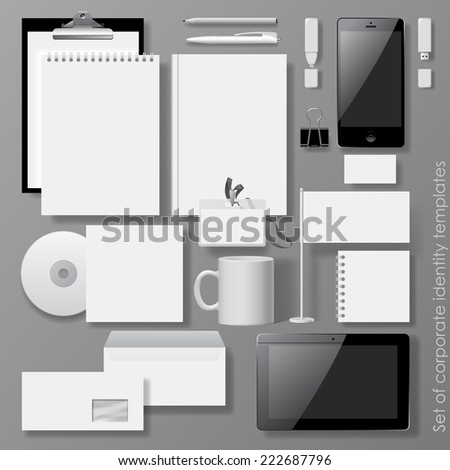 Vector set of white design corporate identity templates with notepad, envelope, business card, CD, Mobile phone, Tablet computer, flag, badge, mug  and other office accessories - stock vector