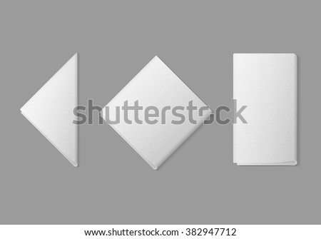 Vector Set of White Folded Square Rectangular Triangular Napkins Top View Isolated on Background. Table Setting - stock vector