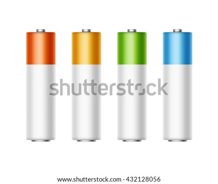 Vector Set of White Golden Yellow Red Blue Green Glossy Alkaline AA Batteries Of Diffrent Color for branding Close up Isolated on White background - stock vector