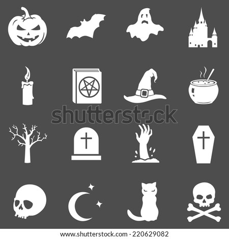 Vector Set of White Halloween Icons on Dark Gray Background - stock vector