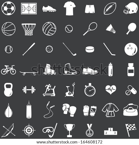 vector set of 49 white icons for sports store  - stock vector