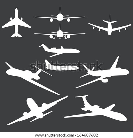 vector set of white plane silhouettes - stock vector