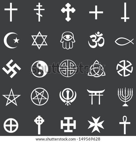 Vector Set 25 White Religious Symbols Stock Vector Hd Royalty Free