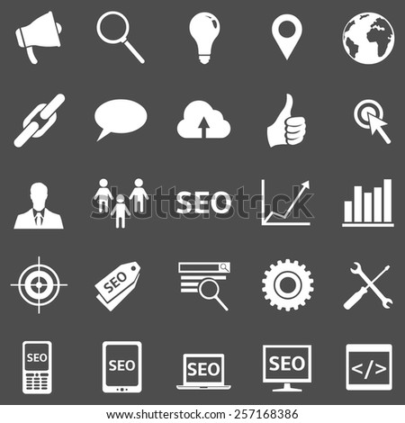 Vector Set of White SEO Icons - stock vector