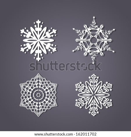 Vector set of white snowflakes on the grey background - stock vector