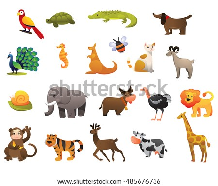vector set of wild and farm animals