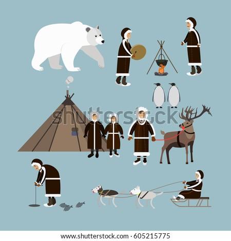 Vector Set Wild North Arctic People Stock Vector 605215775