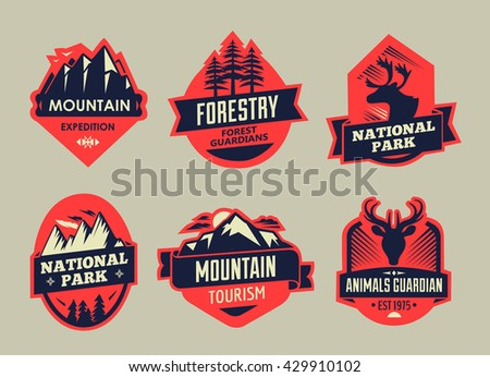 Vector set of wilderness and nature exploration vintage emblems, silhouettes and design elements. outdoor activity symbols - stock vector