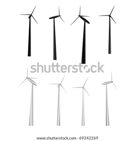 vector set of windmills of different camera angles and lighting - stock vector