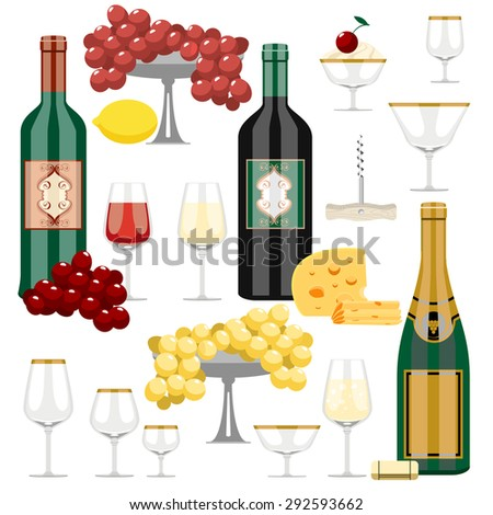 Vector set of wine and food - stylized illustration. - stock vector