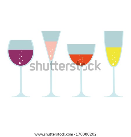 vector set of wine glasses with drinks